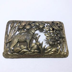 Dog brass heavy early brooch pin